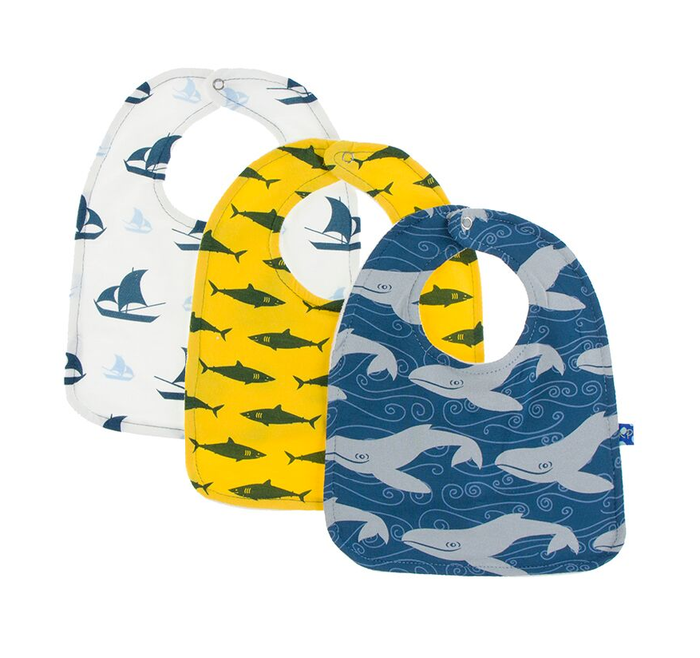 Kickee Pants Bib Set of 3 - Natural Sailboat, Lemon Shark, Twilight Whale