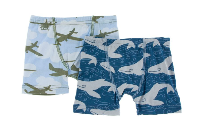 Kickee Pants Boxer Briefs Set of 2 - Pond Airplanes & Twilight Whale