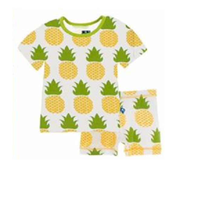 Kickee Pants Custom Print Short Sleeve Pajama Set with Shorts - Natural Pineapple with Meadow Trim