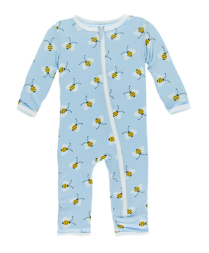 Kickee Pants Print Coverall with Zipper - Pond Bees