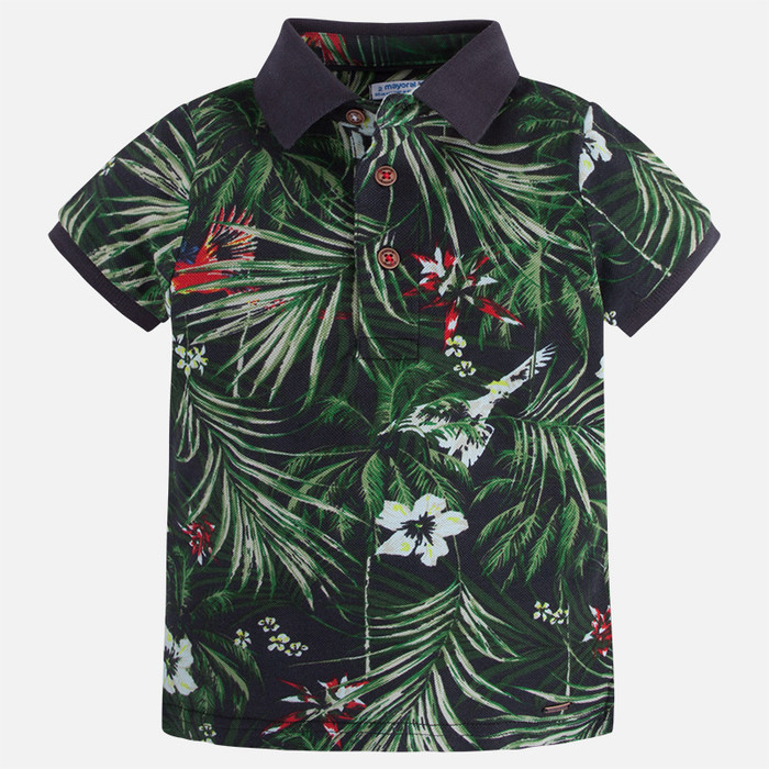 Mayoral Boy Patterned Short Sleeve Polo - Black