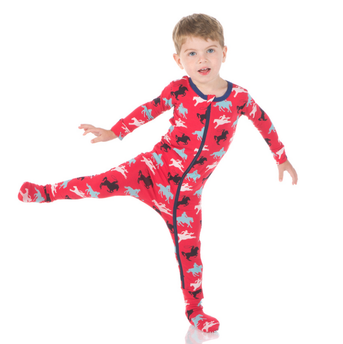 Kickee Pants Print Footie with Zipper - Flag Red Cowboy