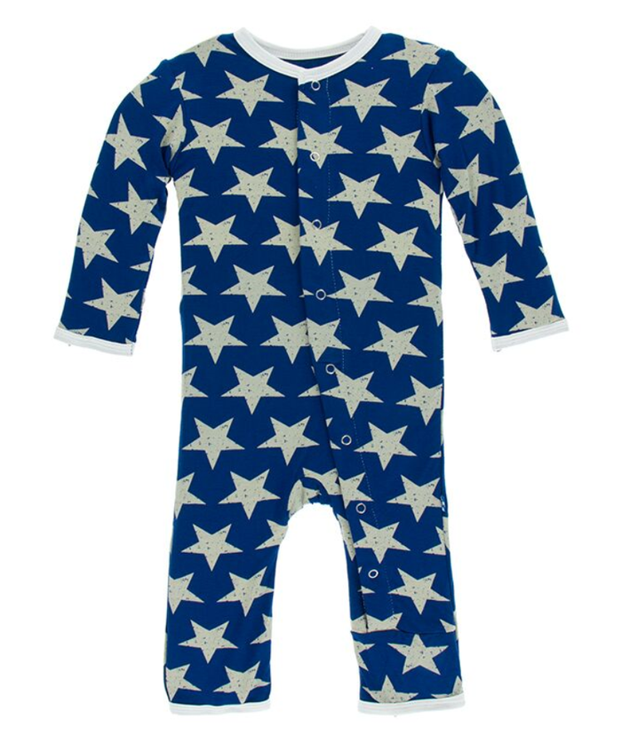 Kickee Pants Print Coverall with Snaps - Vintage Stars