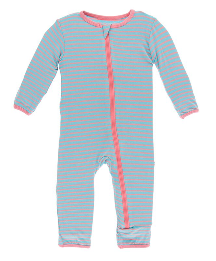 Kickee Pants Print Coverall with Zipper - Strawberry Stripe