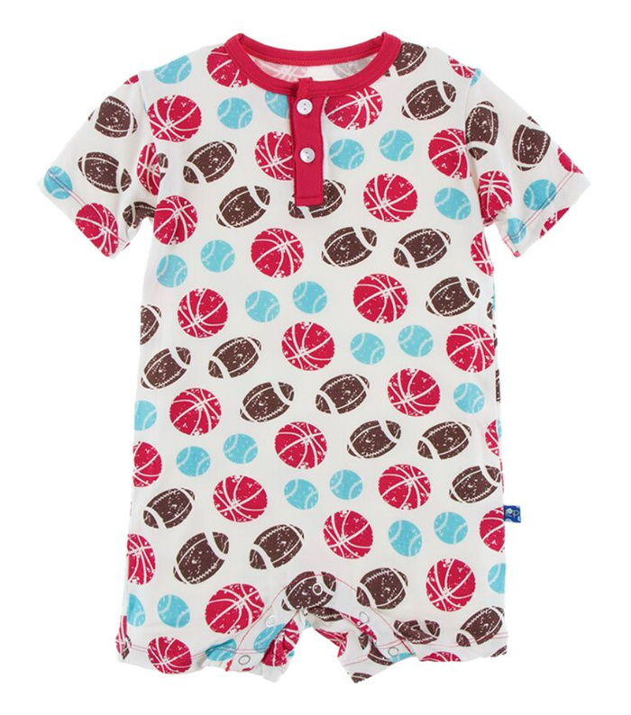 Kickee Pants Print Henley Romper - Natural Sports