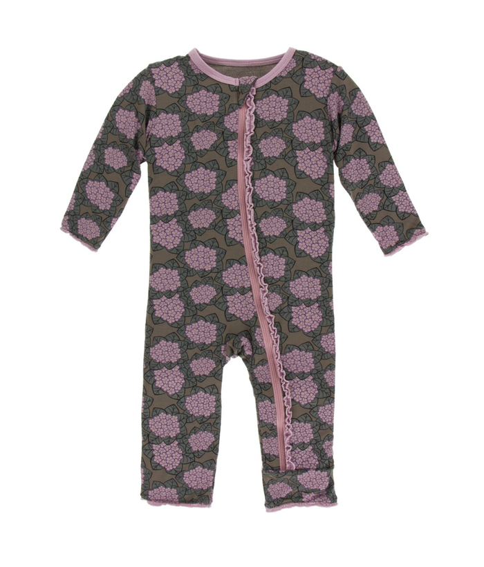 Kickee Pants Print Muffin Ruffle Coverall with Zipper  - African Violets