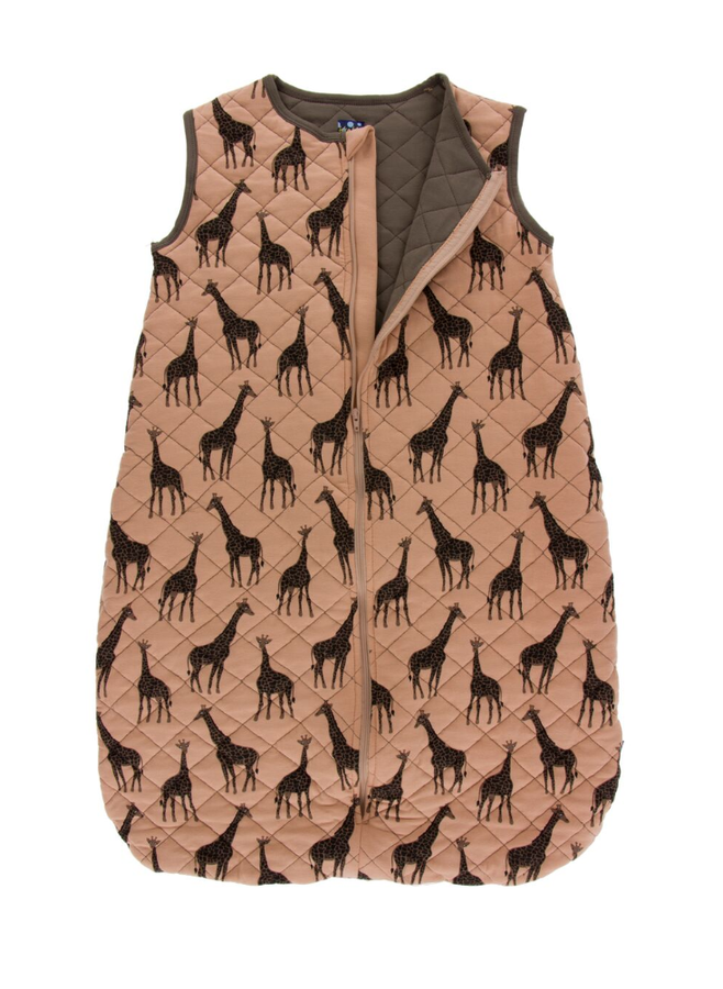 Kickee Pants Printed Quilted Sleeping Bag - Suede Giraffe with Falcon