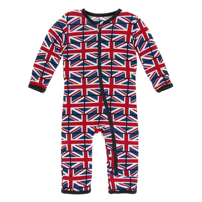 Kickee Pants Print Coverall with Zipper - Union Jack