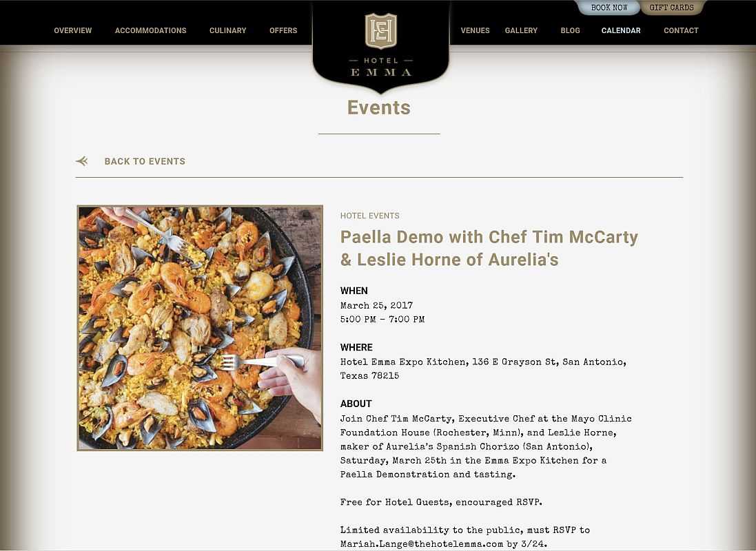 Event - Paella Demonstration by Chef Tim McCarty & Aurelia's Chorizo