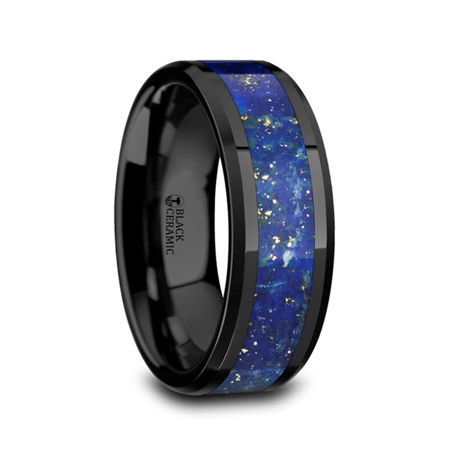 Bremusa Men's Polished Black Ceramic Wedding Band With