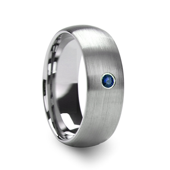 The Antenor Men's Domed Brushed Tungsten Wedding Ring with Blue Diamond from Vansweden Jewelers
