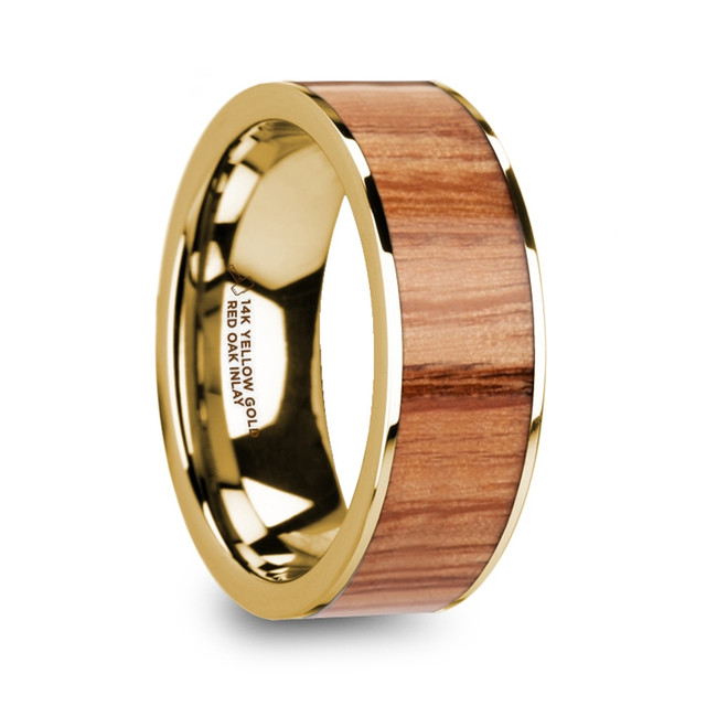 The Naubolus Polished 14k Yellow Gold Men's Wedding Ring with Red Oak Wood Inlay from Vansweden Jewelers