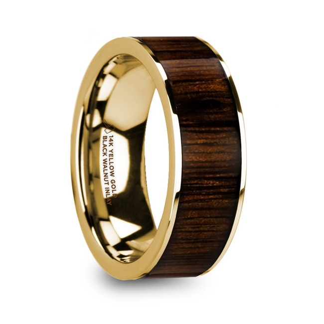 The Botres Men's Polished 14k Yellow Gold & Black Walnut Inlay Wedding Ring from Vansweden Jewelers