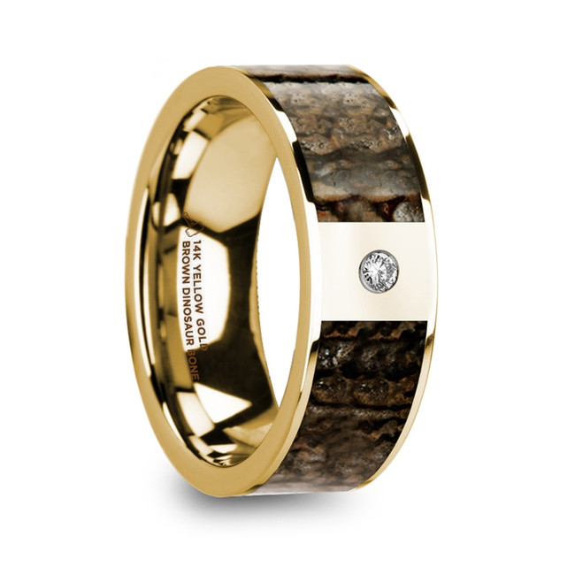 The Abia Polished 14k Yellow Gold & Brown Dinosaur Bone Inlay Men's Wedding Band with Diamond from Vansweden Jewelers