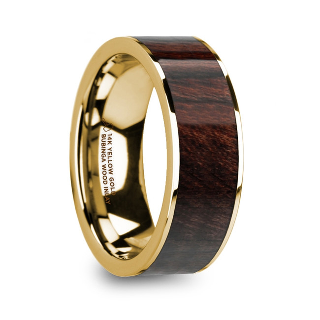 The Antimachus 14k Yellow Gold & Bubinga Wood Inlaid Men's Flat Wedding Ring with Polished Finish from Vansweden Jewelers