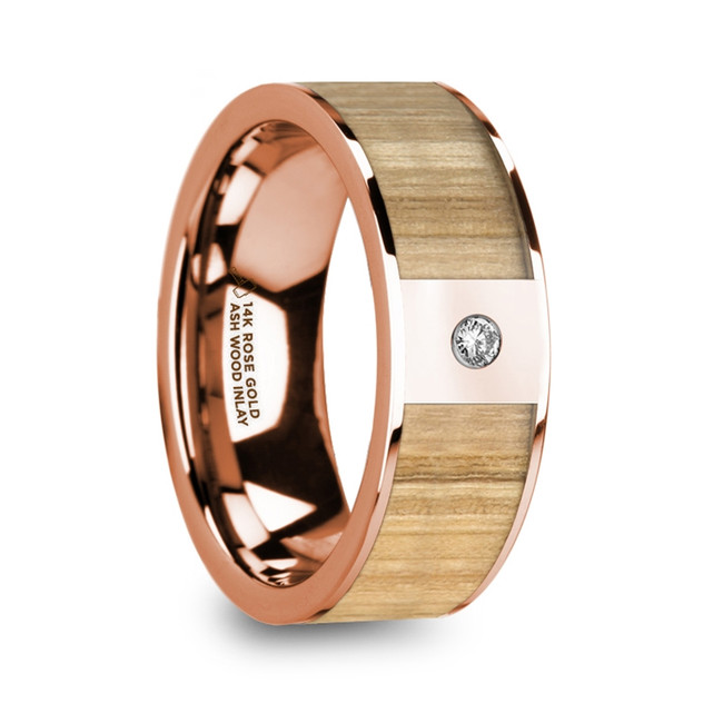 The Briseus Men's Polished Rose Gold Flat Wedding Band with Ash Wood Inlay & Diamond from Vansweden Jewelers