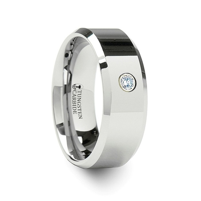 The Sthenele 0.06ct Diamond Tungsten Carbide Ring with Beveled Edges from Vansweden Jewelers