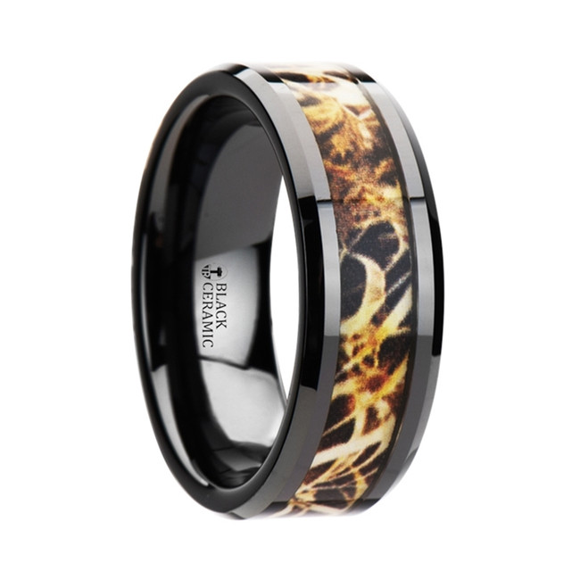 The Maeon Black Ceramic Wedding Band with Leaves Grassland Camo Inlay Ring from Vansweden Jewelers