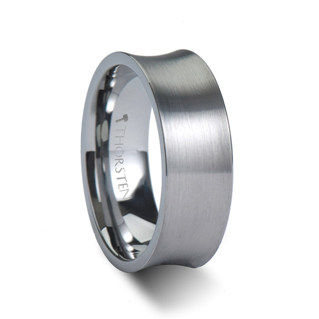 The Alcyone Concave Tungsten Carbide Ring with Brushed Finish from Vansweden Jewelers