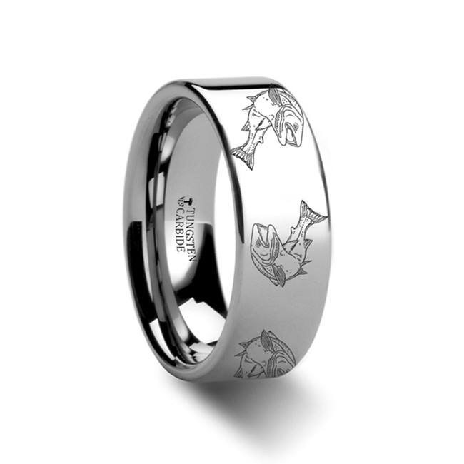 The Cycnus Trout fish Jumping Sea Print Pattern Ring Engraved Flat Tungsten Ring from Vansweden Jewelers