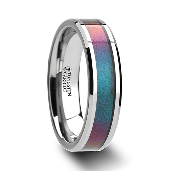 The Hyperenor Tungsten Carbide Ring with Blue/Purple Color Changing Inlay from Vansweden Jewelers
