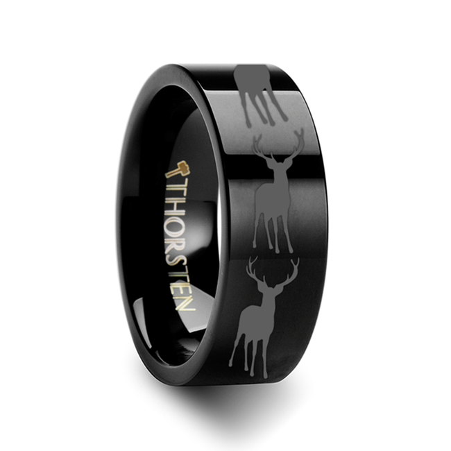 The Ornytion Stag Fawn Deer Elk Print Ring Engraved Flat Black Tungsten Ring from Vansweden Jewelers