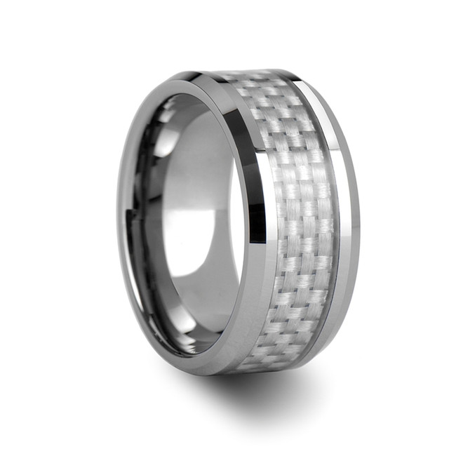 The Agrius Tungsten Carbide Ring with White Carbon Fiber Inlay from Vansweden Jewelers