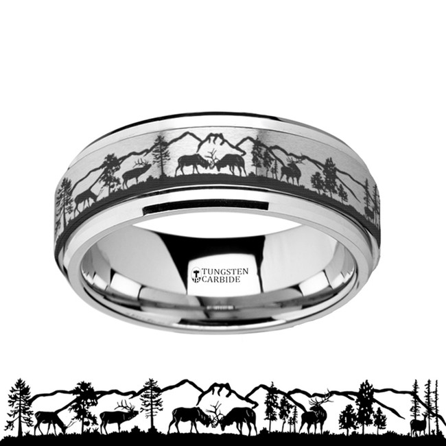 The Psophis Spinning Spinner Engraved Deer Stag Mountain Range Tungsten Carbide Wedding Band from Vansweden Jewelers