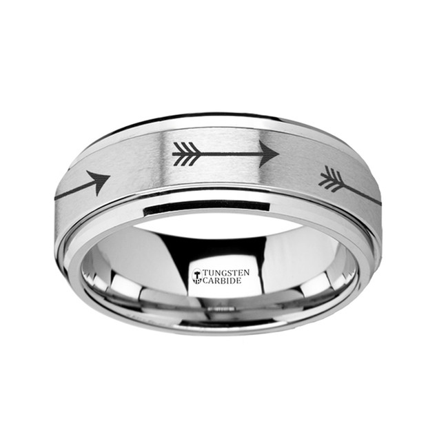 The Henioche Spinning Engraved Arrow Tungsten Carbide Spinner Wedding Band from Vansweden Jewelers