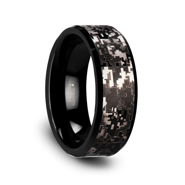 The Cyparissus Black Tungsten Carbide Wedding Ring with Engraved Black Digital Camouflage from Vansweden Jewelers