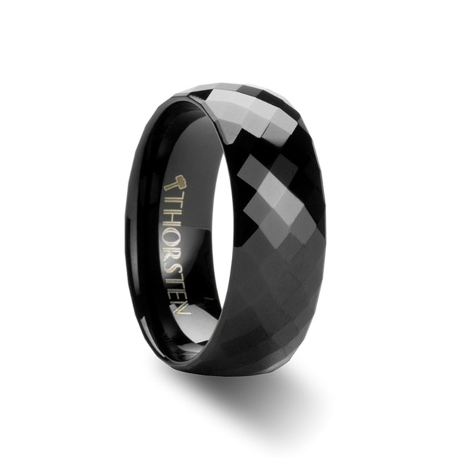 Ceyx 288 Black Diamond Faceted Tungsten Carbide Ring from Vansweden Jewelers