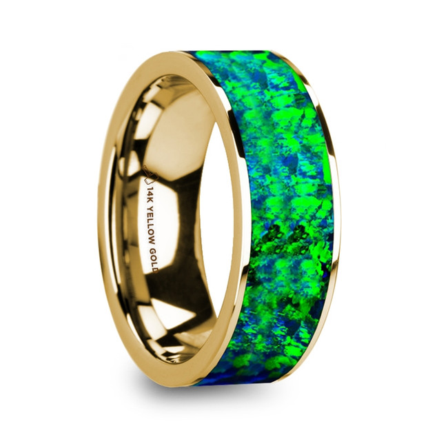 Hippothous Flat Polished 14K Yellow Gold with Emerald Green and Sapphire Blue Opal Inlay from Vansweden Jewelers