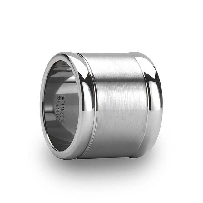Emathion Brushed Finish Center Flat Tungsten Carbide Ring with Polished Edges from Vansweden Jewelers