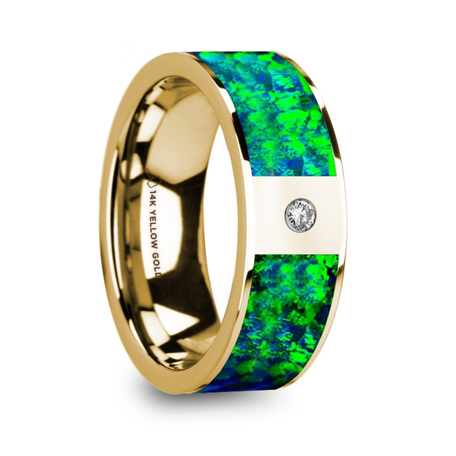 Cleopatra Flat Polished 14K Yellow Gold Ring with Emerald Green and Sapphire Blue Opal Inlay & Diamond from Vansweden Jewelers
