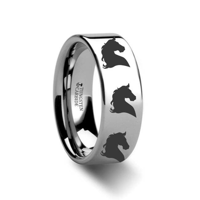 Chrysippe Horse Head Engraved Flat Tungsten Ring from Vansweden Jewelers