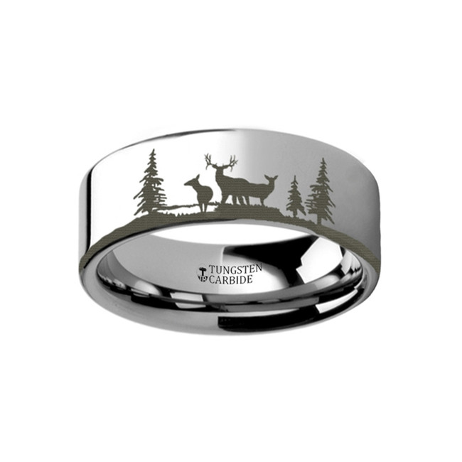 Antiphus Landscape Scene with Deer Engraved Flat Tungsten Ring from Vansweden Jewelers
