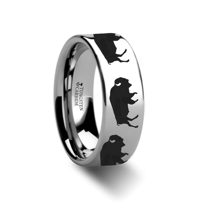 Thrasymedes Buffalo Engraved Flat Tungsten Ring from Vansweden Jewelers