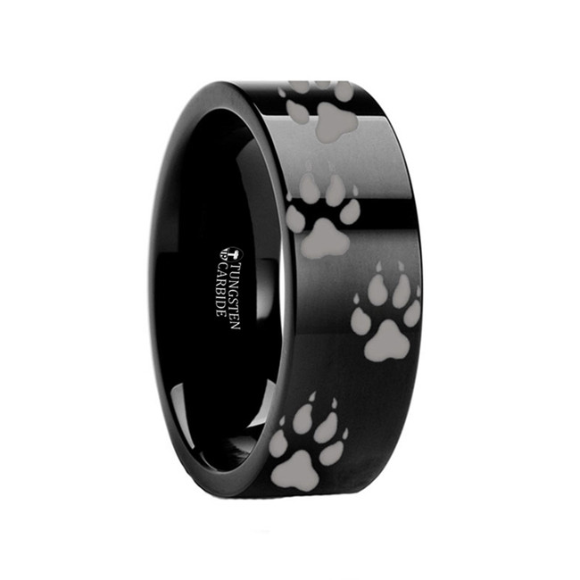 Alcathous Wolf Track Engraved Black Tungsten from Vansweden Jewelers