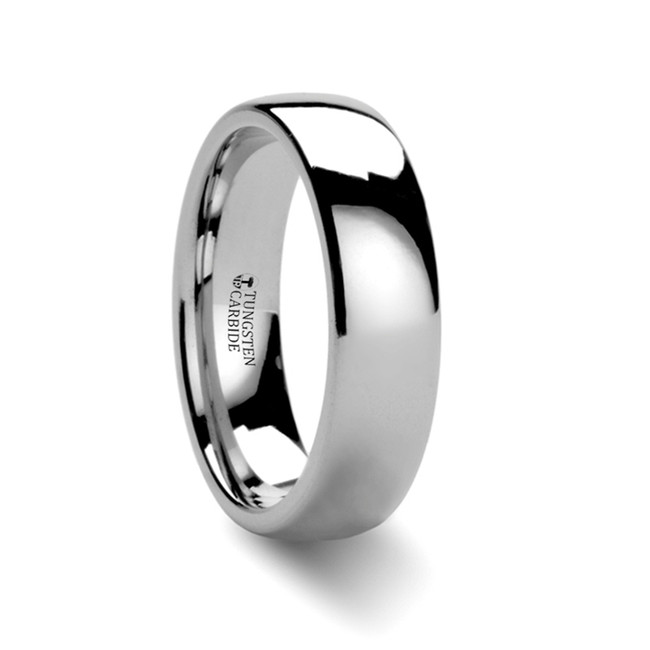 Anthas Round White Tungsten Carbide Ring