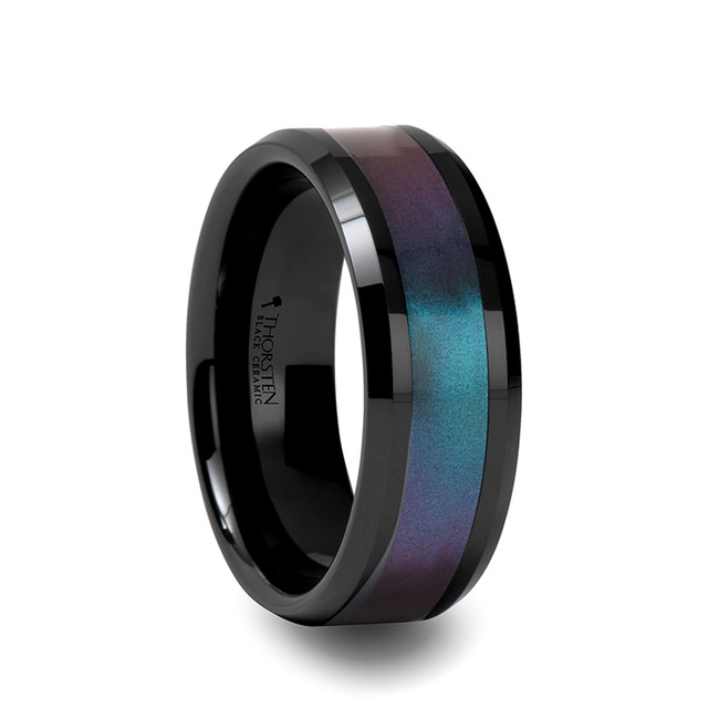 Hippodamia Beveled Black Ceramic Ring with Blue/Purple Color Changing Inlay from Vansweden Jewelers