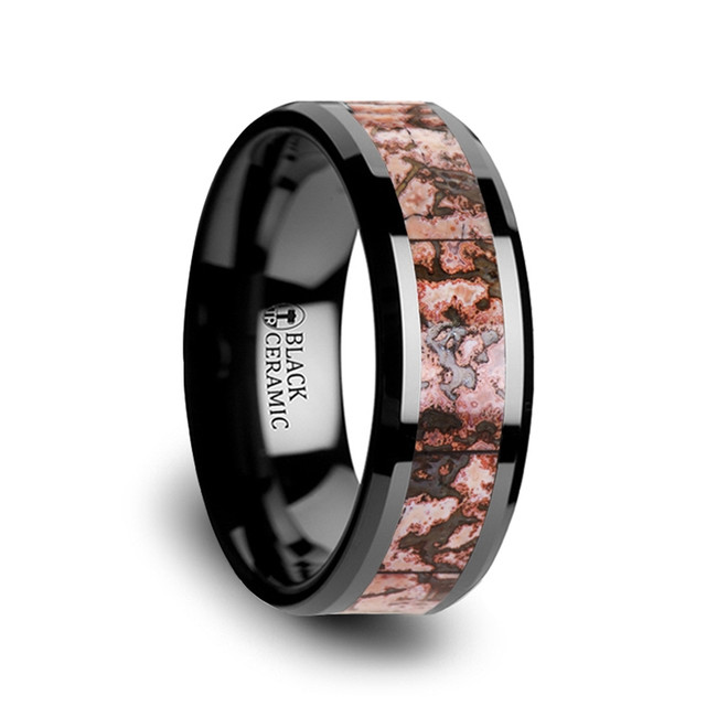 Clytie Pink Dinosaur Bone Inlaid Black Ceramic Beveled Edged Ring from Vansweden Jewelers