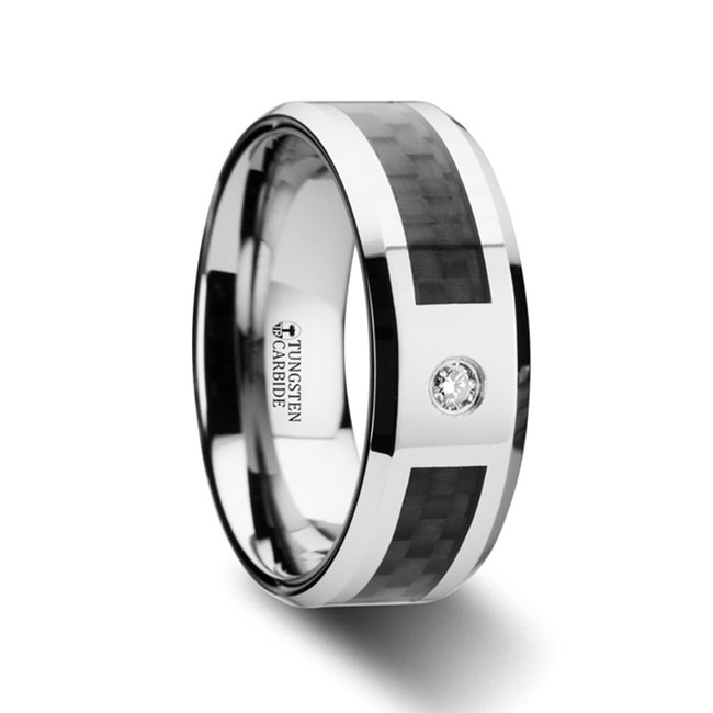 Daedalion Tungsten Carbide Ring with Black Carbon Fiber and White Diamond with Bevels from Vansweden Jewelers