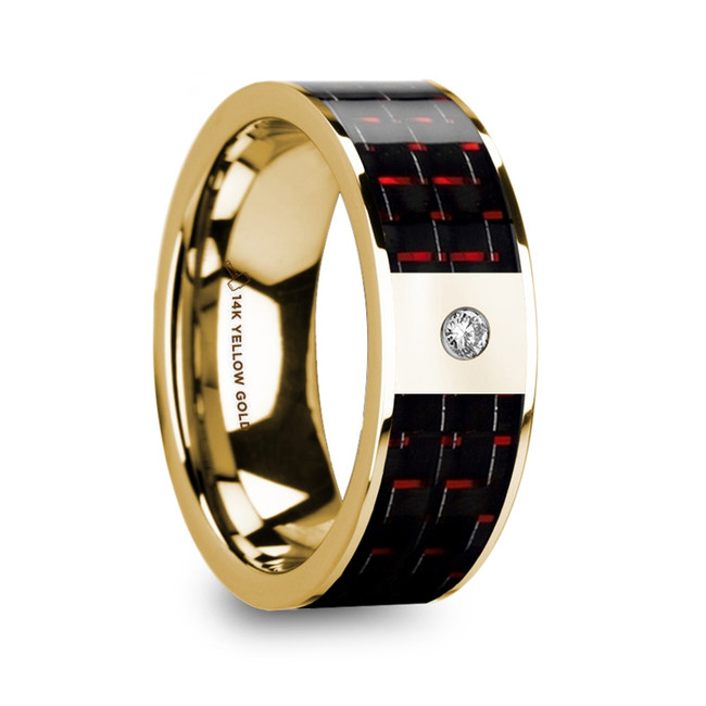 Phytalus Polished 14k Yellow Gold & Diamond Center Wedding Band with Black & Red Carbon Fiber Inlay from Vansweden Jewelers