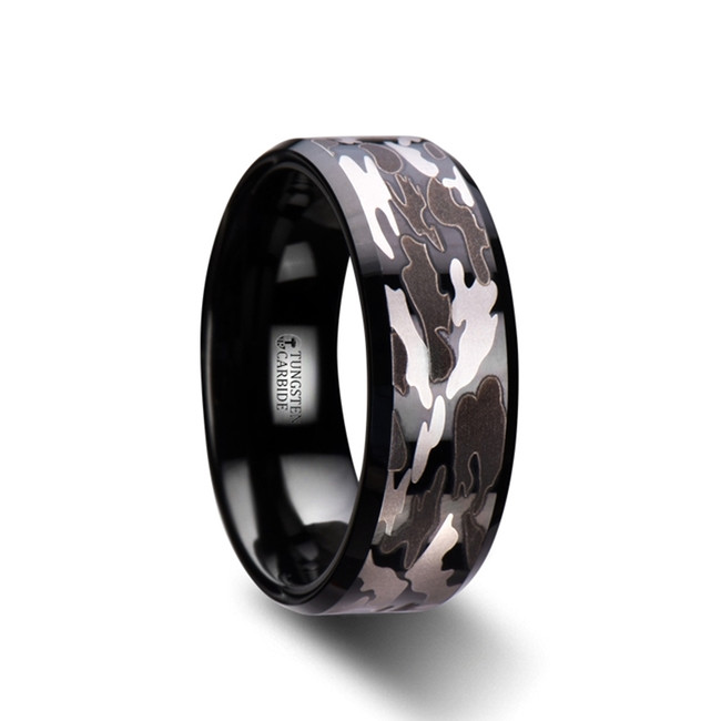 Pandareus Beveled Black Tungsten Carbide Ring with Black and Gray Camo Pattern from Vansweden Jewelers