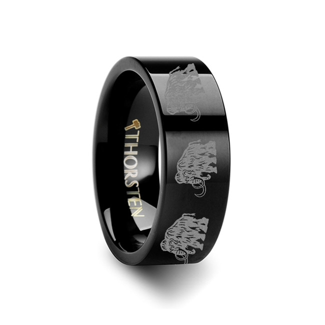 Thersites Mammoth Engraved Flat Black Tungsten Ring from Vansweden Jewelers