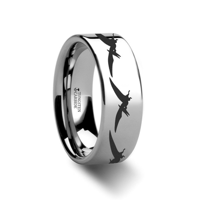 Argia Teradactyl Dinosaur Engraved Flat Tungsten Ring from Vansweden Jewelers