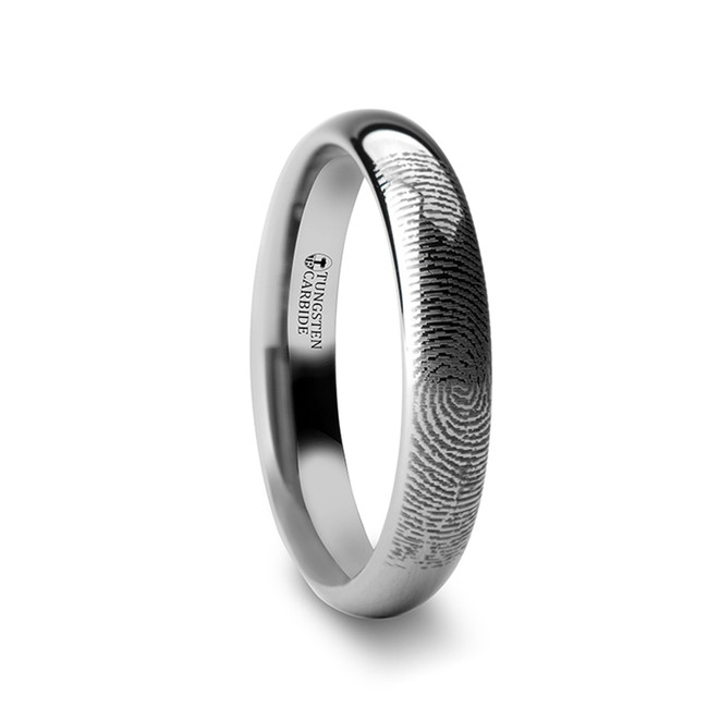 Anaxarete Fingerprint Engraved Domed Tungsten Ring from Vansweden Jewelers