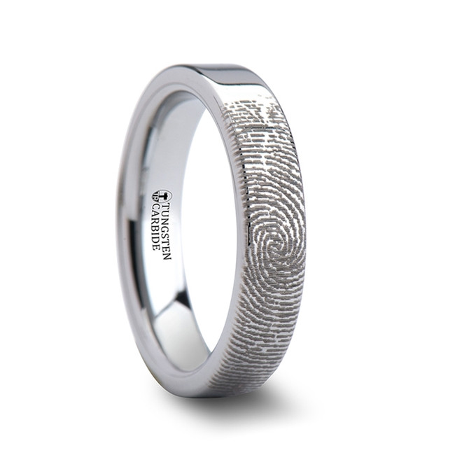 Xanthippe Fingerprint Engraved Flat Pipe Cut Tungsten Ring from Vansweden Jewelers
