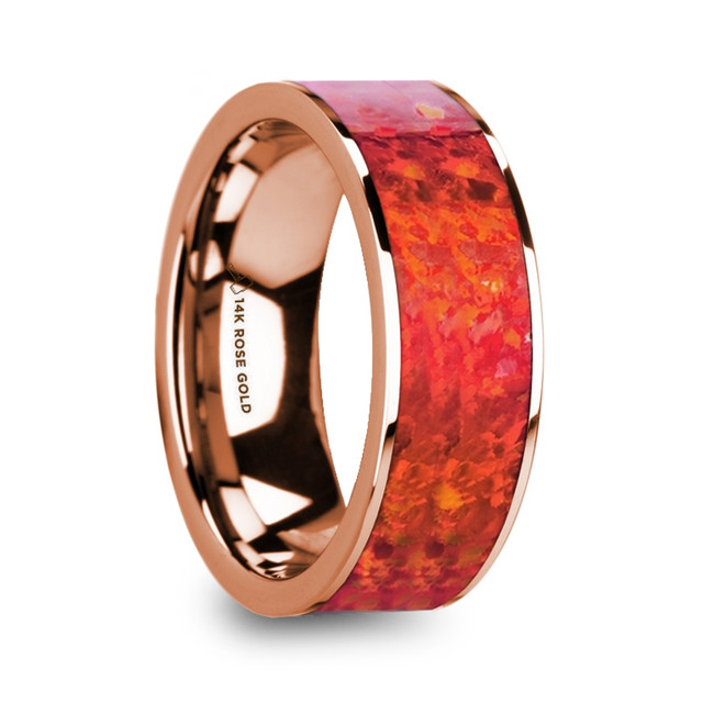 Deimachus Polished 14k Rose Gold Men's Flat Wedding Ring with Red Opal Inlay from Vansweden Jewelers
