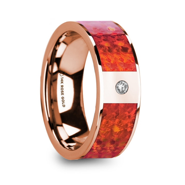 Eumedes Red Opal Inlaid Polished 14k Rose Gold Men's Wedding Ring with Diamond Accent from Vansweden Jewelers